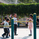 Children was playing with bubbles. Stock Image