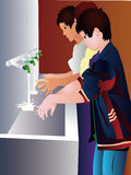 Children washing hands. In water from tap vector illustration