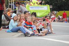 Children Watch Canada Day Parade Royalty Free Stock Image