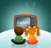 Children watch cartoons Royalty Free Stock Image
