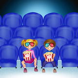 Children watch movies in 3d Royalty Free Stock Images
