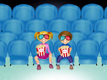Children watch movies in 3d Stock Photography