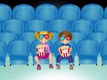 Children watch movies in 3d. Illustration of children watch movies in 3d Stock Photography