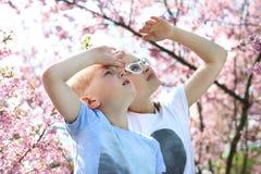 Children watch the sky Stock Photos