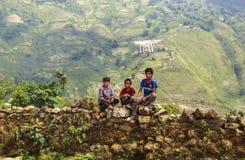 Children watching flycam in North of Vietnam Royalty Free Stock Photo