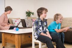 Children watching tv royalty free stock image