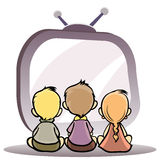 Children watching tv. Vector illustration of a children watching tv Royalty Free Stock Photography
