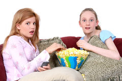 Children Watching TV Together royalty free stock photo