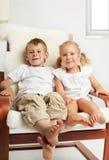 Children watching TVset Stock Images