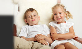 Children watching TVset Stock Image