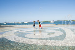 Children in water feature. Royalty Free Stock Image