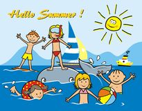 Children and water sports. Children on the beach, water sports. Boys and girls playing in the sea. Funny vector illustration Royalty Free Stock Image