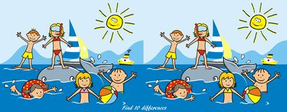 Children and water sports, find ten differences. Children on the beach, water sports. Boys and girls playing in the sea. Funny vector illustration. Game for Stock Photos