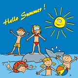 Children and water sports. Hello Summer, postcard. Children on the beach, water sports. Boys and girls playing in the sea. Funny vector illustration Stock Photos