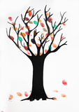 Children watercolor painting, autumnal tree with falling leaves Stock Photo