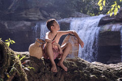 Children with waterfall Stock Photos