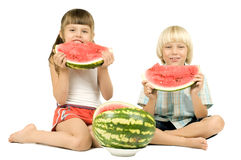 Children with watermelon Stock Photo