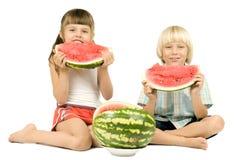 Children with watermelon Stock Photo