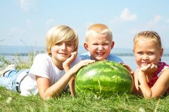 Children with watermelon Stock Images