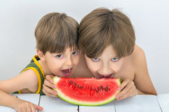 Children and watermelon. Two brothers are eating ripe watermelon Royalty Free Stock Images