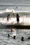 children wave στοκ φωτογραφίες