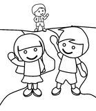 Children waving at each other coloring page. Hand drawn cute children waving at each other coloring page for kids stock illustration