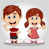 Children waving hand cartoon Royalty Free Stock Photos