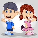 Children waving hand cartoon Royalty Free Stock Images