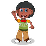 Children waving his hand wearing green short sleeve sweater and creme trousers cartoon Stock Photography