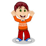 Children waving his hands wearing orange long sleeve sweater and red trousers cartoon Royalty Free Stock Photo