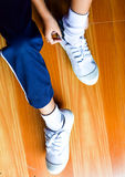Children wear shoes. Ready to school Stock Image