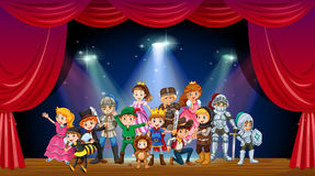 Children wearing costume on stage. Illustration Stock Images