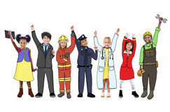 Children Wearing Future Job Uniforms Royalty Free Stock Images