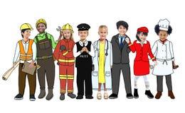 Children Wearing Future Job Uniforms.  vector illustration