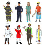 Children Wearing Future Job Uniforms.  Stock Images