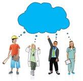 Children Wearing Future Job Uniforms.  stock illustration