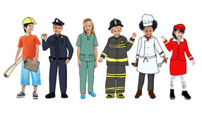 Children Wearing Future Job Uniforms Stock Photography
