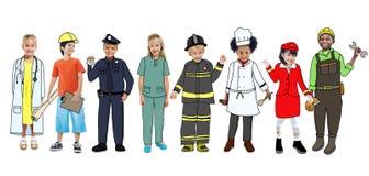 Children Wearing Future Job Uniforms vector illustration
