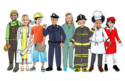 Children Wearing Future Job Uniforms. Isolated on White Stock Photos