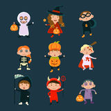 Children Wearing Halloween Costumes Vector Stock Photos