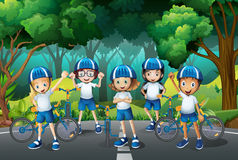 Children wearing helmet when riding bike. Illustration Royalty Free Stock Photos