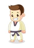 Children Wearing Karate Outfit Cartoon Vector Illustration Stock Images
