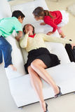 Children Welcoming Tired Mother Returning From Work Stock Photography
