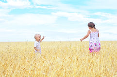 Children in wheat field Stock Image