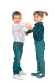 Children on a white background Royalty Free Stock Photo