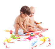 Children whith paint Stock Photos