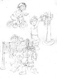 Children who do sport ,sketches and pencil sketches and doodles Royalty Free Stock Photo
