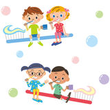 Children who got on the toothbrush Stock Images
