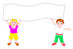 Children who hold a white billboard. Illustration depicting two children who hold a white billboard Royalty Free Stock Images