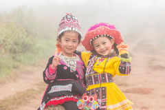 Children. Who live far from civilization . In the mountains of northern Thailand Stock Image